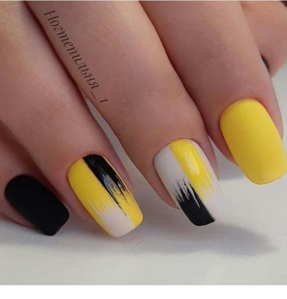 Nice yellow gel nails art