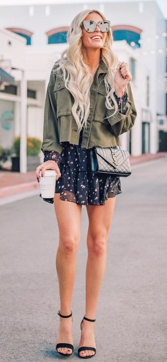 green button-up jacket #spring #outfits
