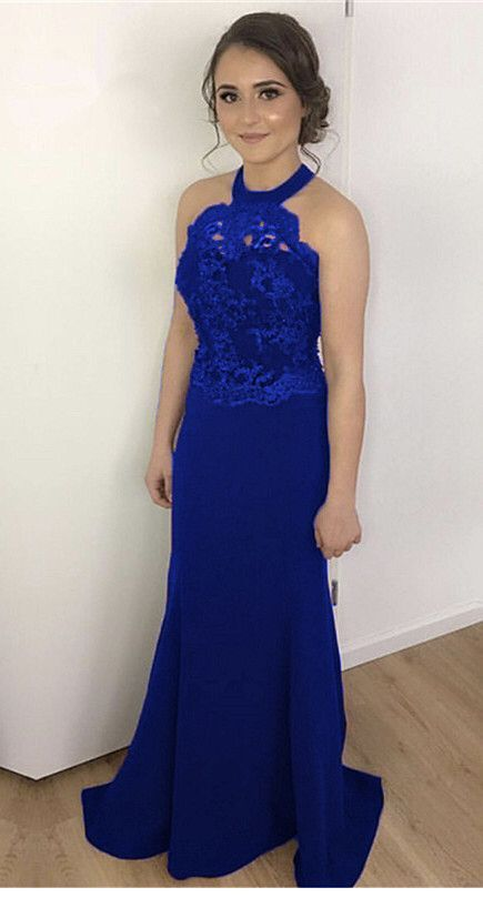 Sweet long blue dress and glam makeup