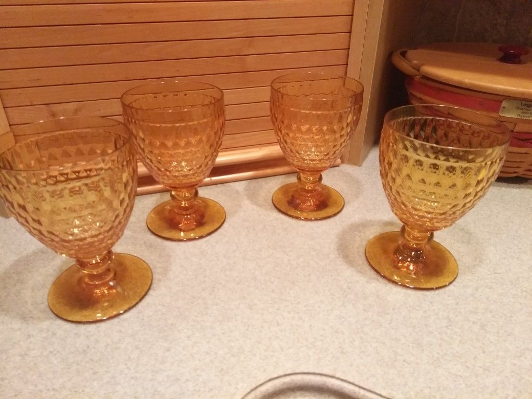 German Crystal Amber Wine Goblet Set Made By Villeroy And Boch