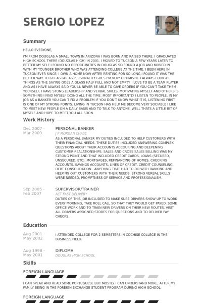 In Store Banker Resume One Page In Store Banker Resume Template, In
