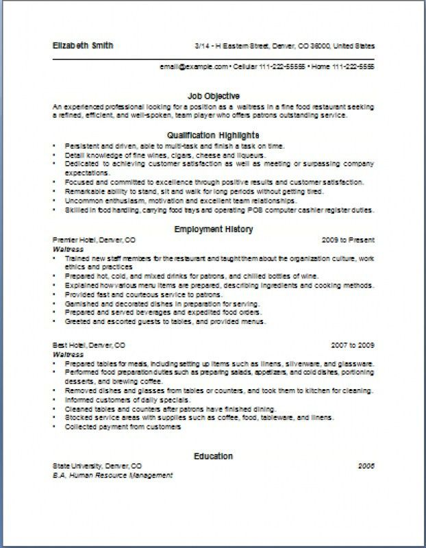 Restaurant Waiter Resume Sample Waitress Resume Objective Samples - waiter resume