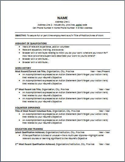 Example Of Chronological Resume  Examples Of Resumes