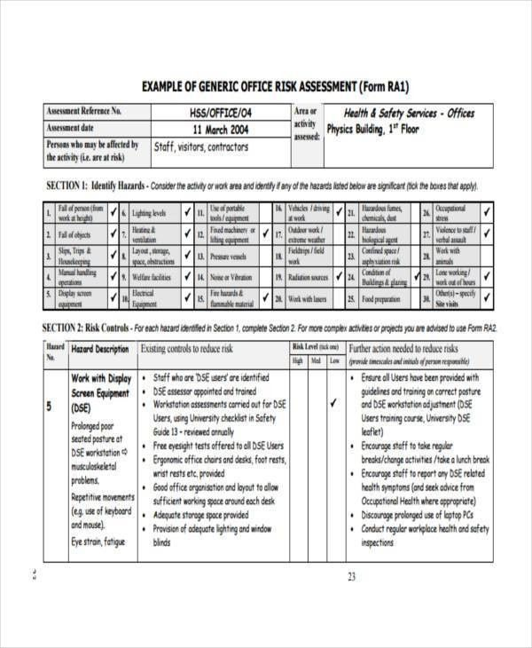 risk assessment form sample efficiencyexperts - health risk assessment template