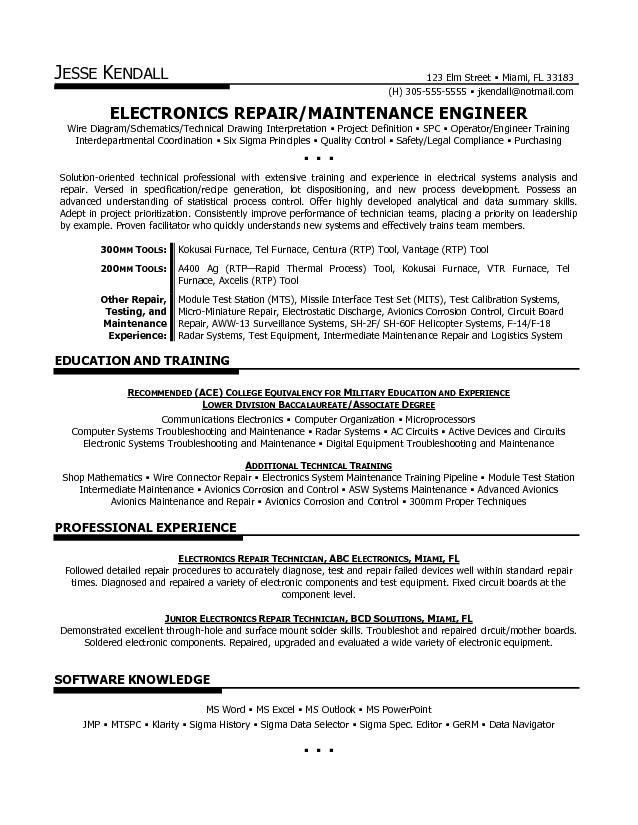 avionics technician resume sample resume sample