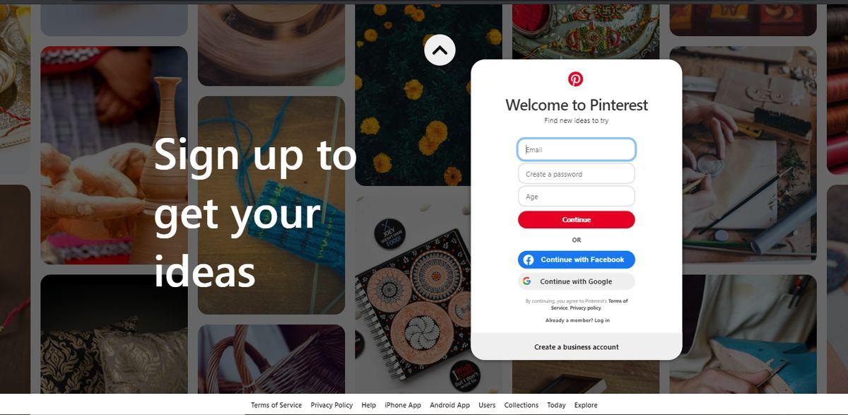 Pinterest sign up panel