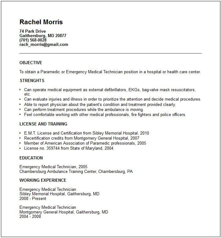 sample emt resume emt paramedic resume sample pinterest emt