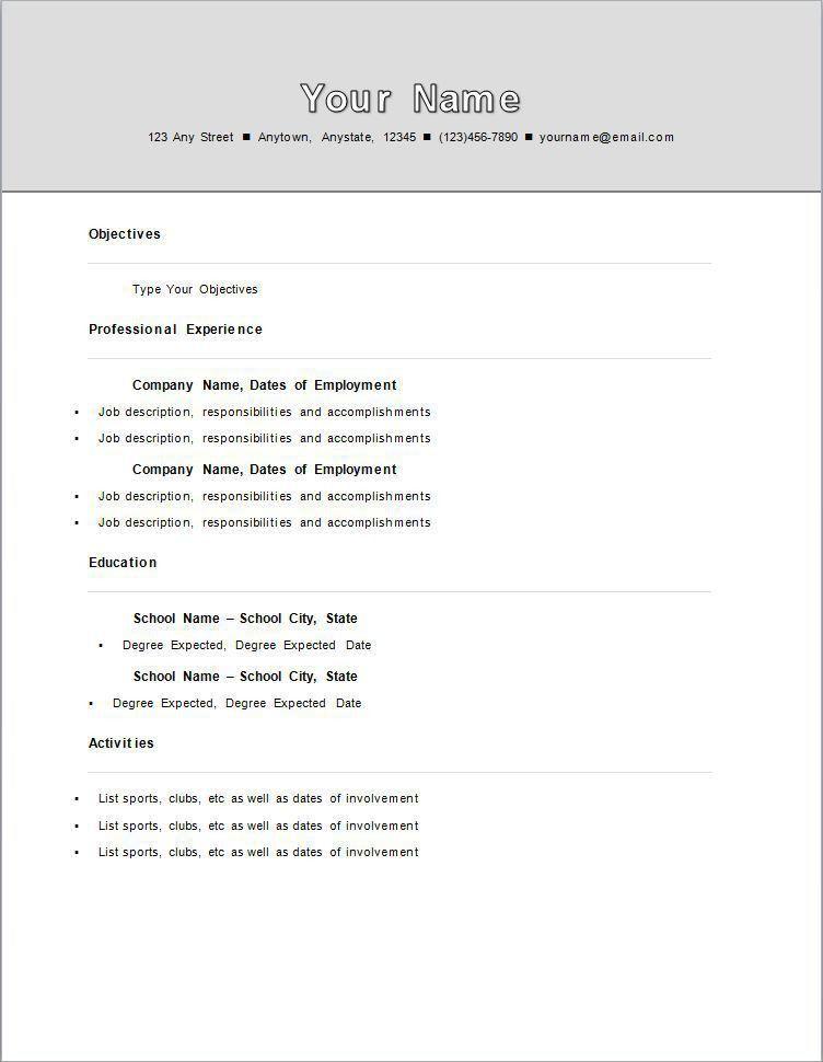 resume format first job