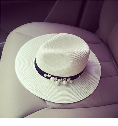 Awesome white hat with pearls