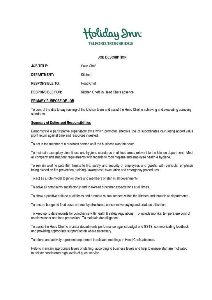 Kitchen Manager Job Description Kitchen Manager Resume Example