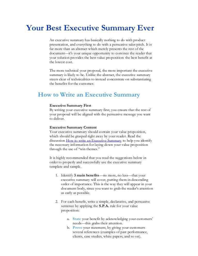 executive summary proposal example – Executive Summary Template Free