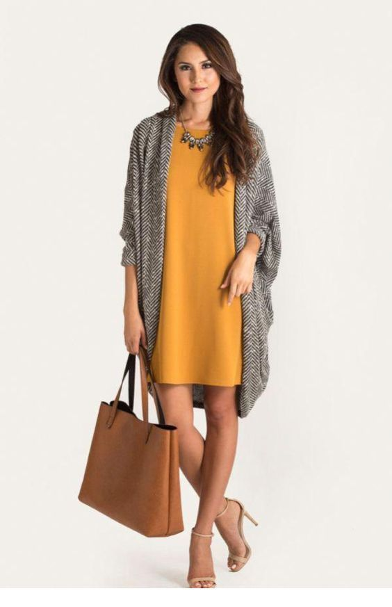 Cute yellow dress with grey cardigan