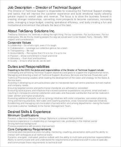 Duties Of It Support Sales Support Job Description, Fm 6 20 50 - technical director job description