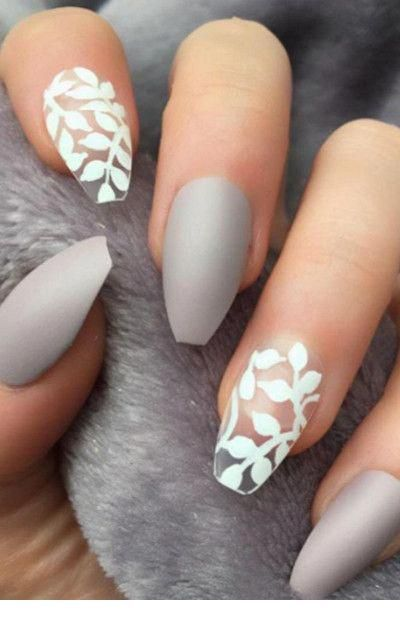 Cute matte grey nails with white print