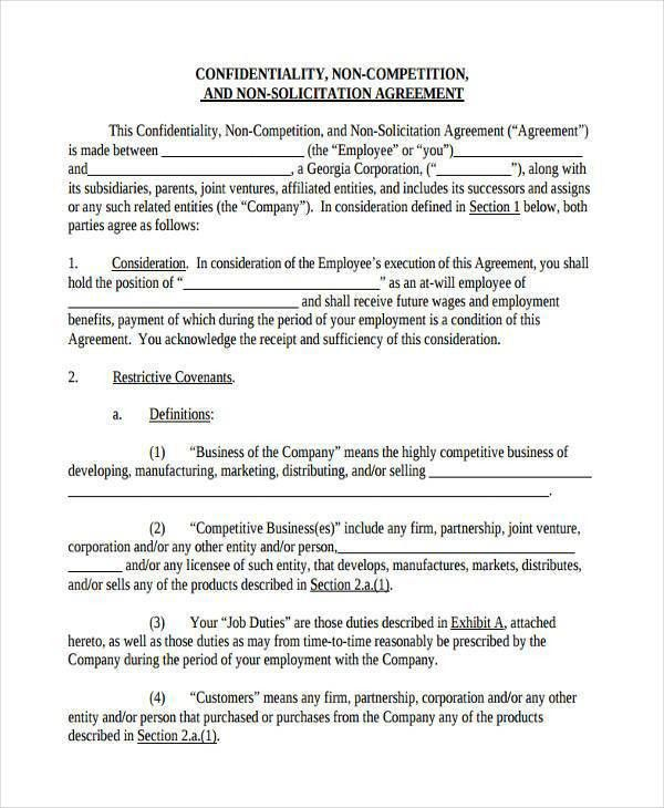 Nda Free Template 20 Word Non Disclosure Agreement Templates Free - business non compete agreement
