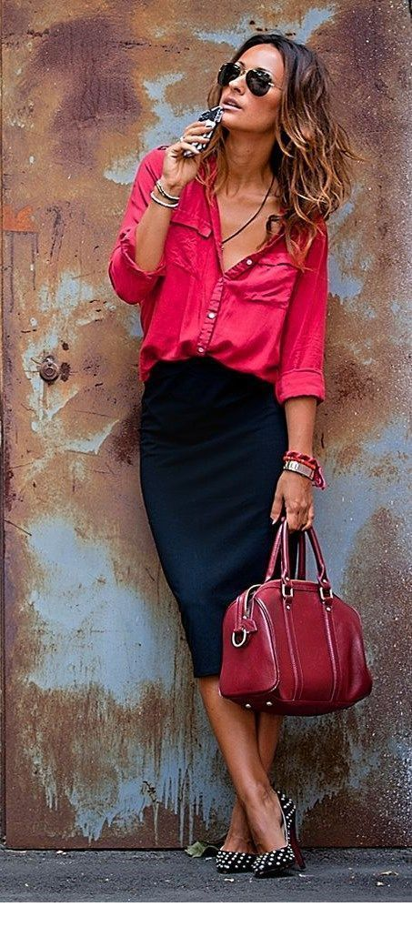 Pink shirt and black skirt