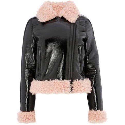 Biba - Faux Leather Aviator Jacket
