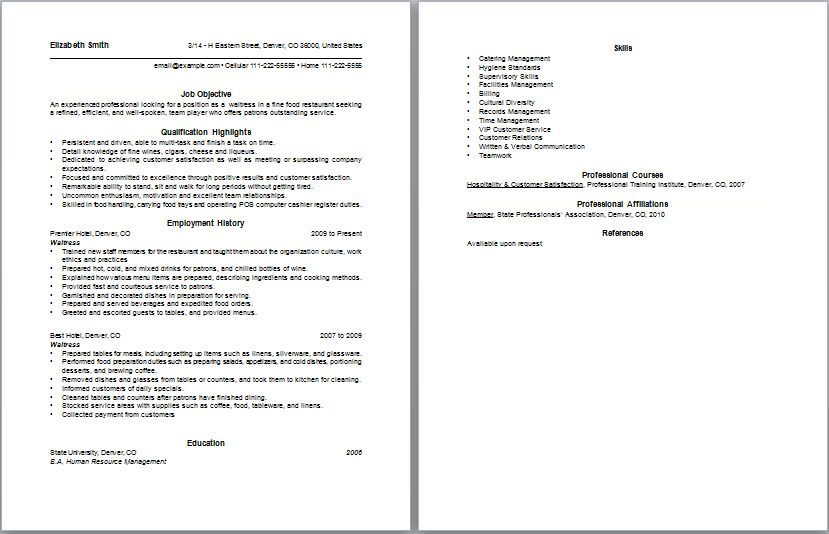 waitress example resume examples of resumes - Waitress Resume Objective Examples