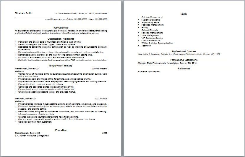 Waitress Resume Objectives Brilliant Waitress Example Resume  Examples Of Resumes