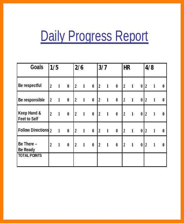Student Daily Progress Report Template Daily Progress Report - job progress report
