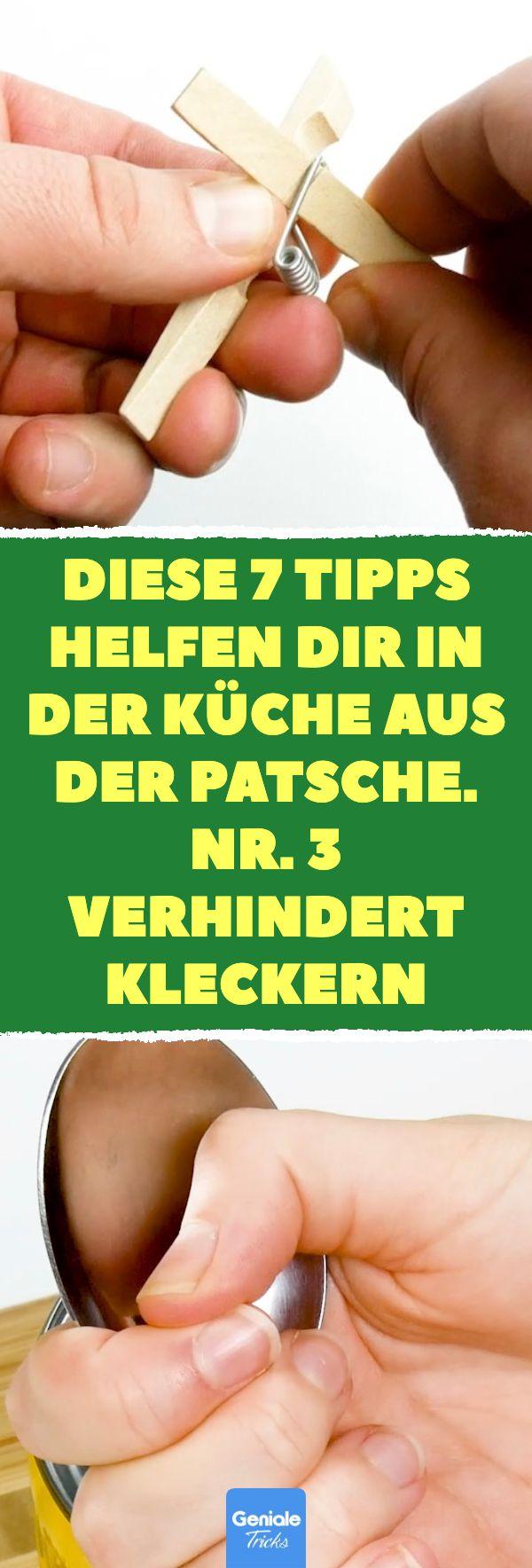 Diese 7 Tipps helfen dir in der Küche aus der Patsche. Nr. 3 verhindert Kleckern. Mit Stäbchen essen, Dosenöffner & Co.: 7 Tipps für das Lösen von Problemen in der Küche. #küche #tipps #dosenöffner #haushalt #korken #mikrowelle