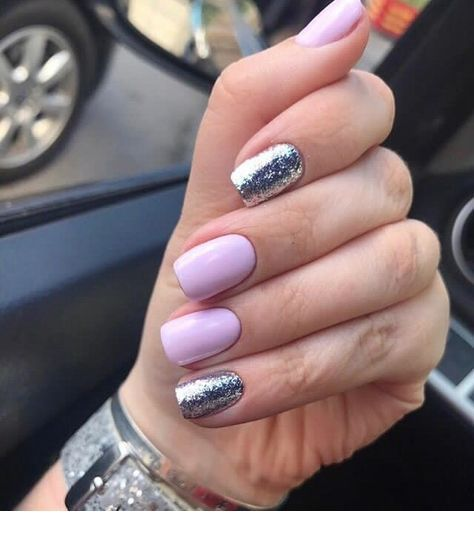 Light purple nails with glitter