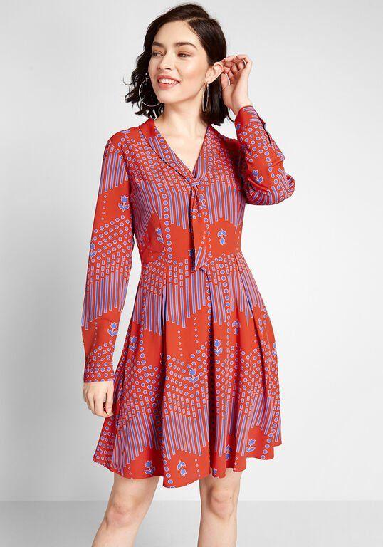 Pleasant Confidence Tie-Neck Dress