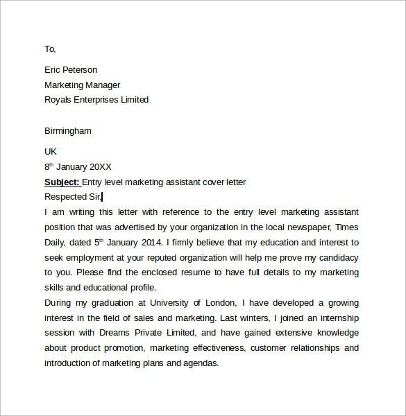 Cover Letter Marketing Marketing Cover Letter Example Sample - entry level marketing cover letter