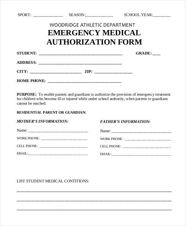 Sample Medical Consent Form Example. sample travel authorization ...