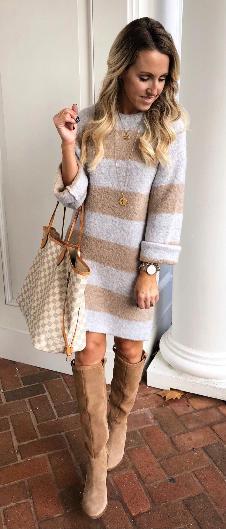 white and beige long-sleeved dress