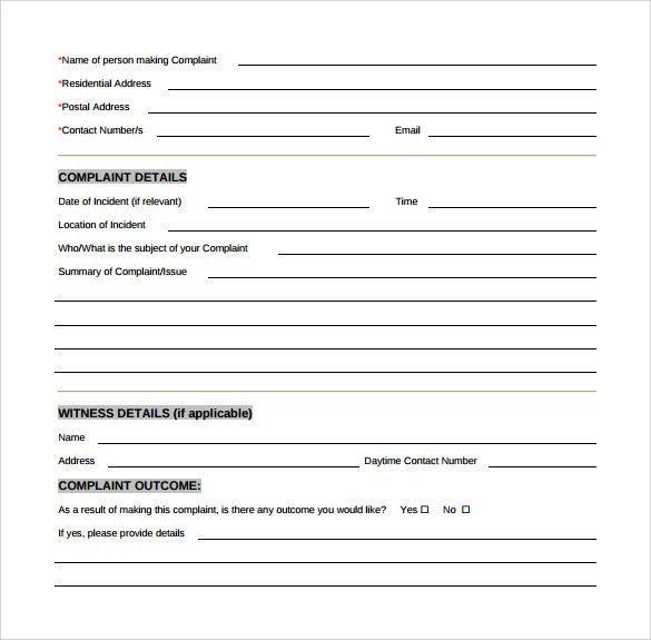 Customer Form Sample Customer Service Request Form Template - sample form