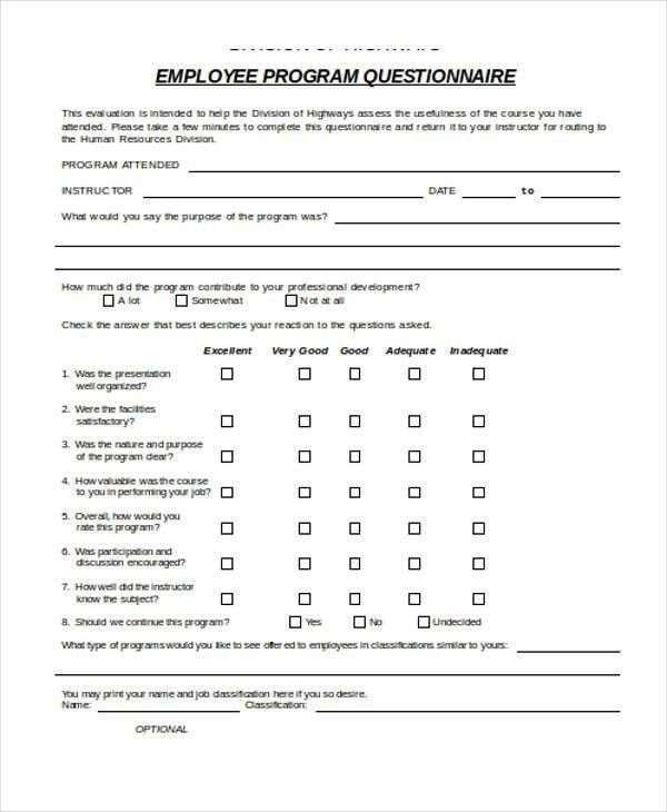 Employee Training Survey Questions 10 Training Survey Templates - training survey template