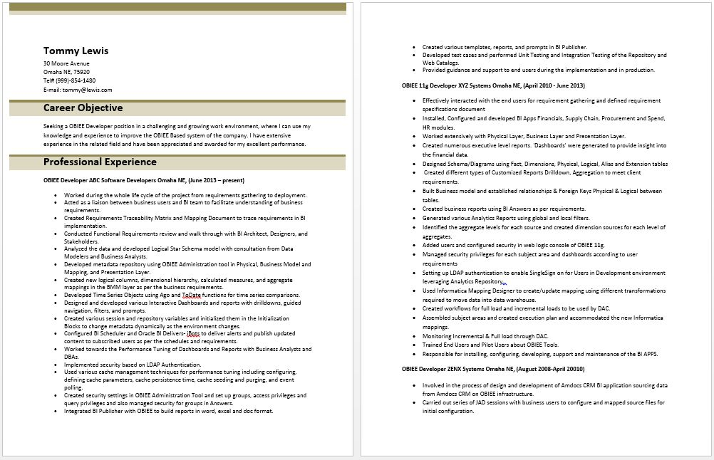 obiee business analyst resume resume cv cover letter