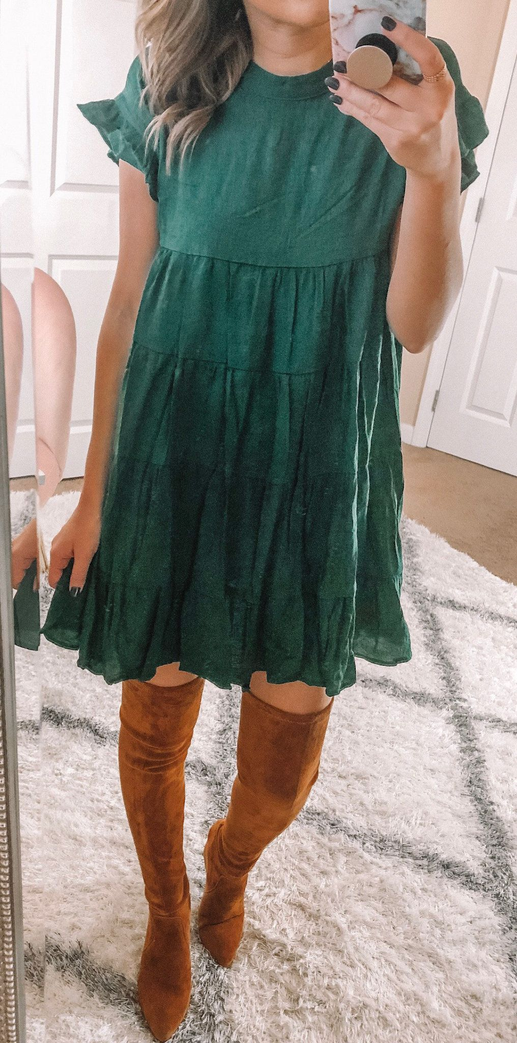 green crew-neck mini dress