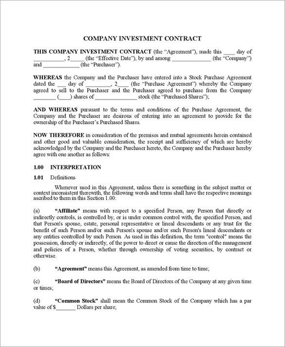 Simple Investment Contract Investment Contract Template Contract - sample stock purchase agreement