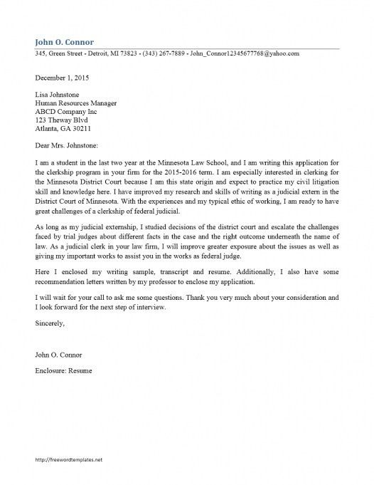 Cover Letter For Judicial Clerkship. Sample Cover Letter For
