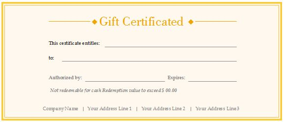 Gift Certificate Voucher Template Free Gift Certificate Templates - blank vouchers template
