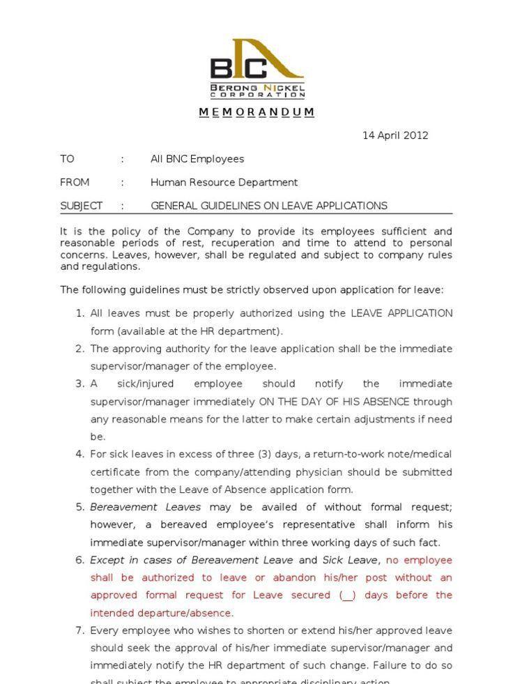 ... Formal Sick Leave Letter. Leave Application ...