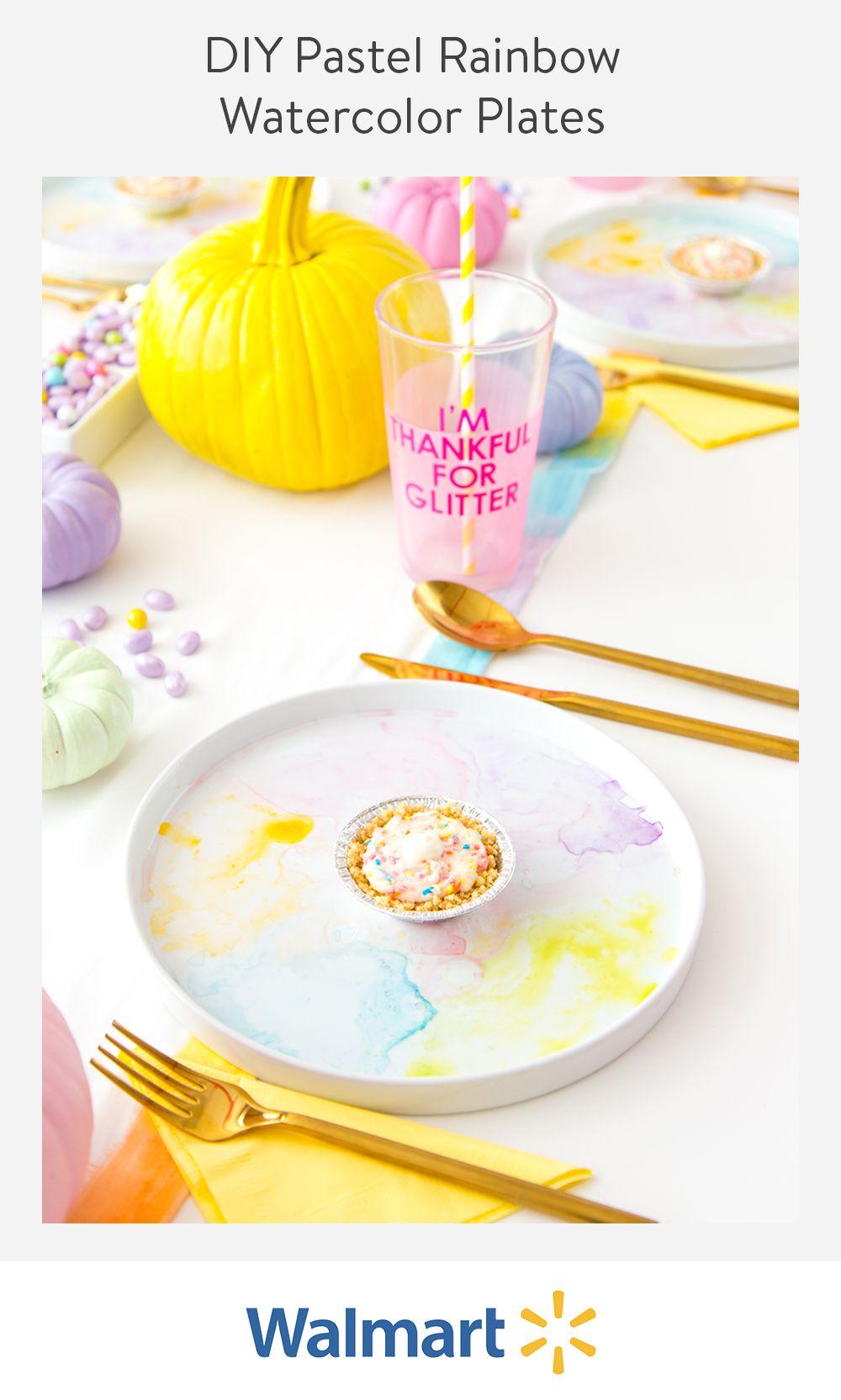 DIY Pastel Rainbow Watercolor Plates