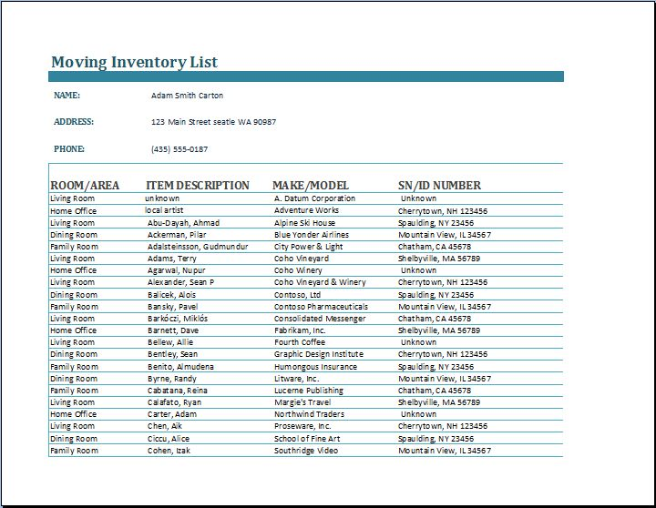 Moving Inventory List Template Moving Inventory List Template - inventory list template