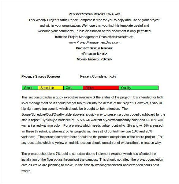 Weekly Summary Report Template Weekly Status Report Template 12   Monthly Summary  Report Template