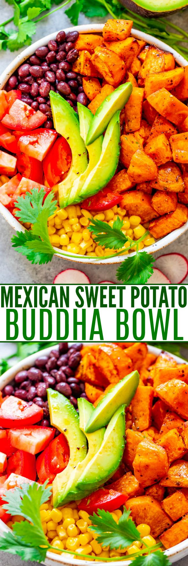 Mexican Sweet Potato and Black Bean Buddha Bowl – A HEALTHY and EASY alternative to a salad!! Loaded with Mexican-inspired ingredients and topped with a light lime-cumin vinaigrette! Ready in 20 minutes and perfect for MEAL PREPPING!!