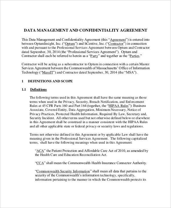 Confidentiality Agreement Template Confidentiality Agreement - contractor confidentiality agreement