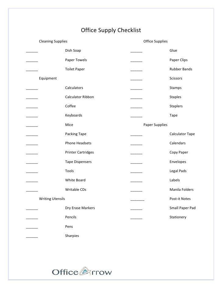 printable office supply list