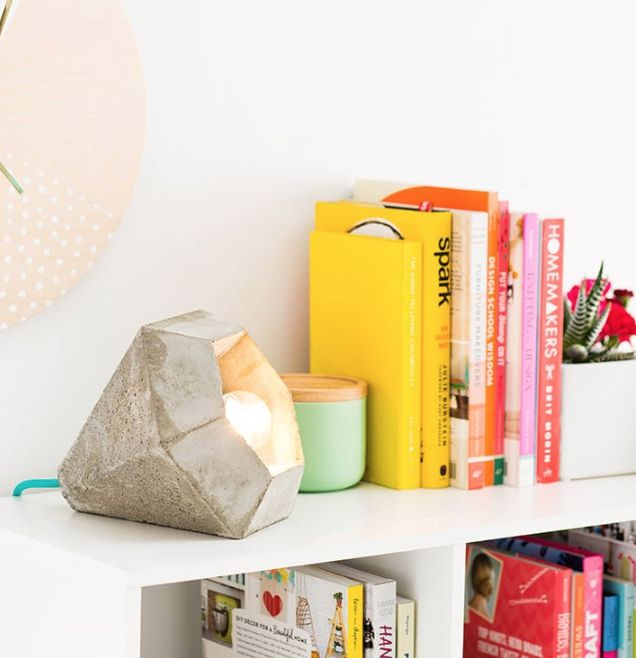 You know you want to make an industrial chic concrete lamp. 😇💡 In this Brit + Co online class, Ben Uyeda, founder of Homemade Modern, will expertly walk you through how to cut and build a mold, mix concrete, and cast a simple diamond-shaped concrete lamp — we promise it's easier than it sounds! Shop on brit.co. #IAmCreative #BCClasses