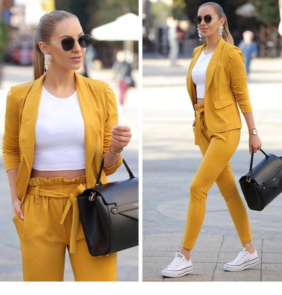 Cool yellow suit for office