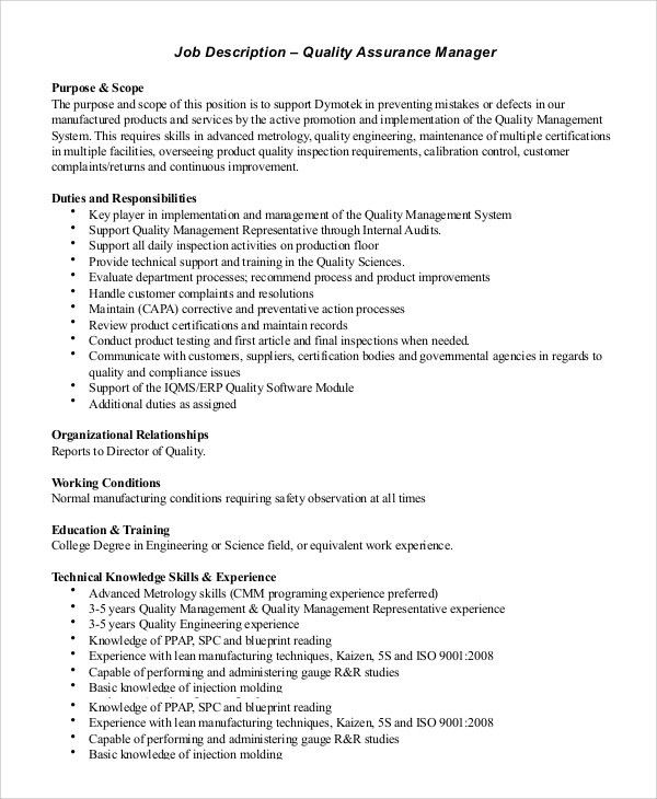 Job Description Director Of Engineering Director Of Engineering - manufacturing engineer job description