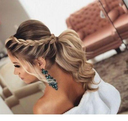 Braid, ponytail, big earrings and white dress