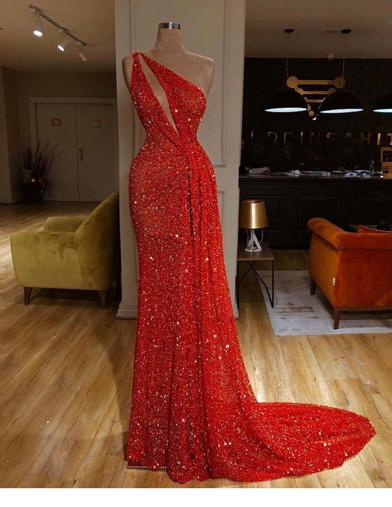 Glam long red glitter dress design