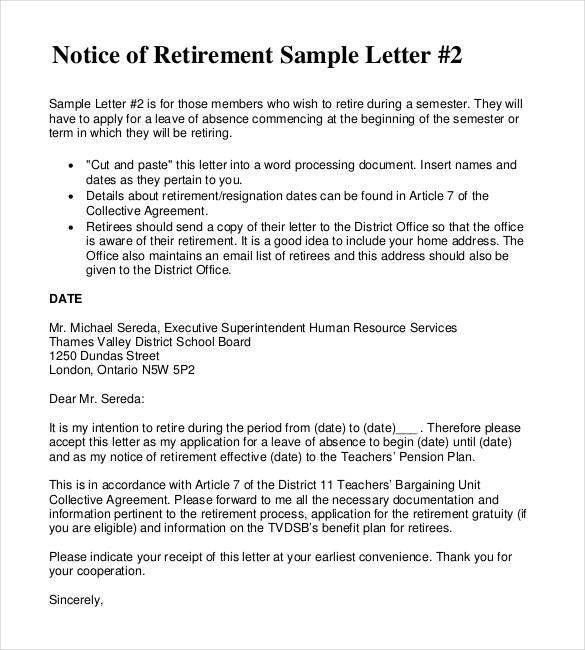 Retirement Letters For Teachers Sample Letter Employee Teacher